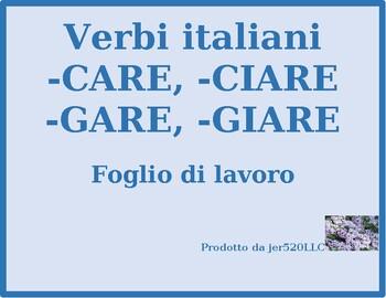 Stem changing verbs in Italian chart worksheet