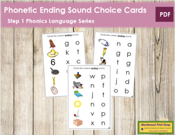 Step 1: Phonetic Ending Sound Choice Cards