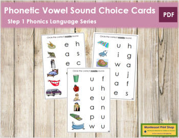 Step 1: Phonetic Medial Sound Choice Cards