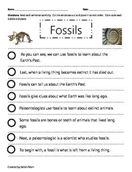 Paragraph Cut & Paste on Fossils