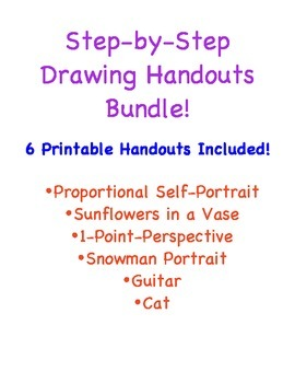 Six Step-by-Step Drawing Handouts Bundle!