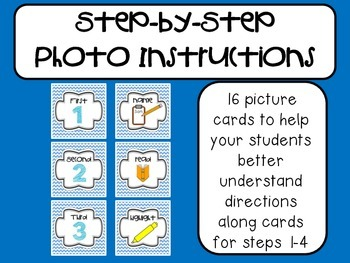 Step-by-Step Picture Directions - Light Blue Chevron