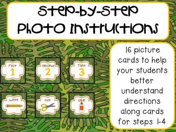 Step-by-Step Picture Directions - Monkey/Jungle Themed