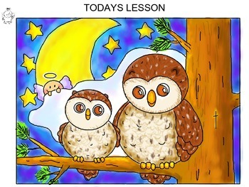 Step-by-step art lesson featuring an owl scene.