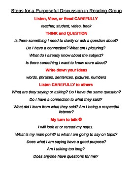 Steps for Purposeful Discussion in Reading Group