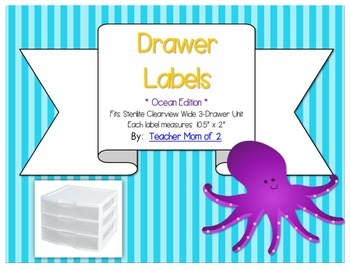Sterilite Drawer Labels - Ocean Theme