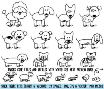 Stick Figure Pets Clipart Clip Art, Stick Family Pets and Animals
