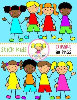 Stick Kids Clipart {Set 3}