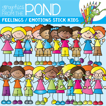 Emotions / Feelings Stick Kids - Clipart for Teaching
