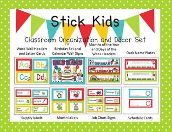 Stick Kids & Polka Dots Classroom Organization and Decor Set