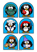 Stick Puppets - PENGUINS - 30 coloured plus black and whit