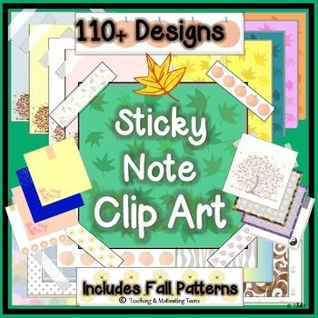 Sticky Note Clip Art Bundle - 110+ Designs - Blank for Add
