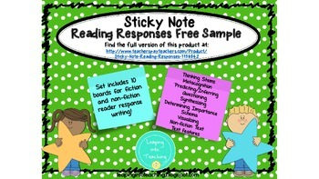 Sticky Note Reading Response Free Sample