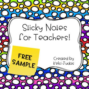 Sticky Notes for Teacher Freebie!