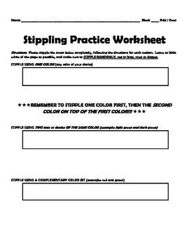 Stippling Practice Worksheet for Pointillist Landscape Project