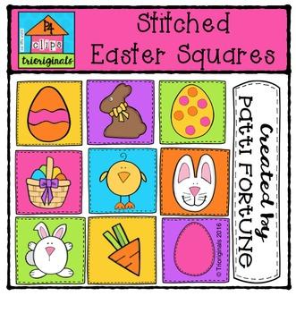 Stitched Easter Squares {P4 Clips Trioriginals Digital Clip Art}