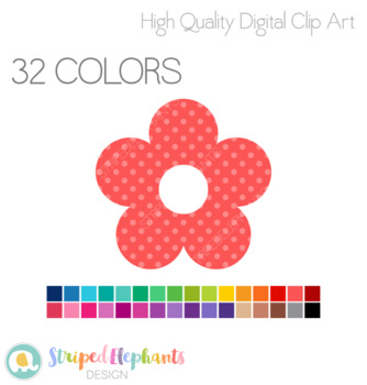 Stitched Flowers Clip Art - Polka Dots