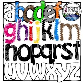 Stitched Lowercase Letters Alphabet Clipart Bundle