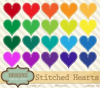 Stitched Rainbow Hearts Clipart