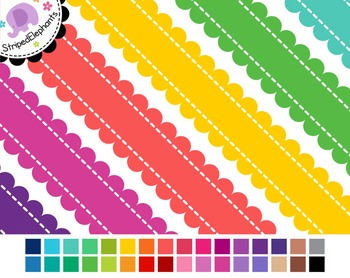 Stitched Scalloped Digital Ribbon Borders