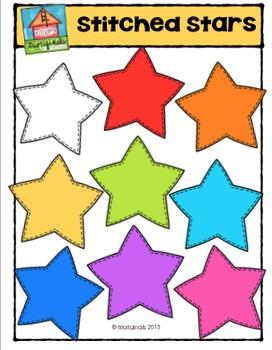 Stitched Stars {P4 Clips Trioriginals Digital CLip Art}