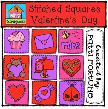 Stitched Valentine's Squares {P4 Clips Trioriginals Digita