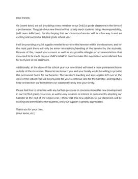 Stock Letter to Parents - Class Pet