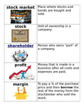 Stock Market Vocabulary Cards