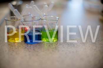 Stock Photo: Colored Beakers (Science lab) -Personal & Com