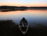 Stock Photo: Lake Sunset Canoe