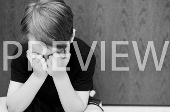 Stock Photo Styled Image: Discouraged Student #4 B&W -Pers