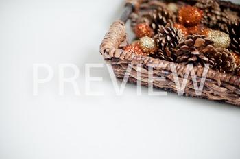 Stock Photo: Fall Basket of Acorns & Pinecones-Personal &