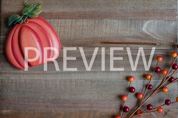 Stock Photo Styled Image: Fall Pumpkin on Wood #2 -Persona