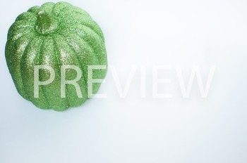 Stock Photo Styled Image: Green Glitter Pumpkin #1 -Person