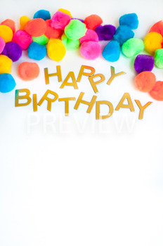 Stock Photo Styled Image: Happy Birthday Sign -Personal &