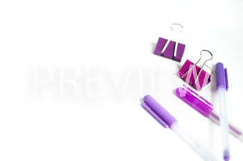 Stock Photo Styled Image: Purple Desk Supplies -Personal &