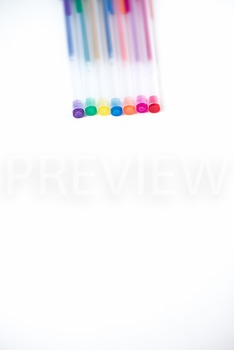 Stock Photo: Rainbow Colored Gel Pens -Personal & Commercial Use