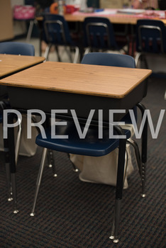 Stock Photo: Student Desk in a Classroom-Personal & Commer