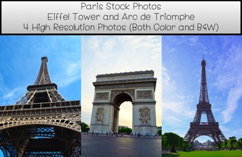 Stock Photos- Eiffel Tower and Arc de Triomphe- Commercial