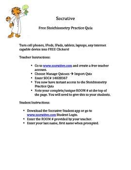 Stoichiometry Gram-Mole Conversions Socrative Clicker Quiz  FREE