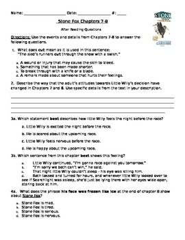 Stone Fox chapters 7-8 PARCC like Assessment Common Core S