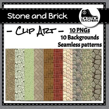 Stone and Brick Background Digital Papers - 10 patterns as
