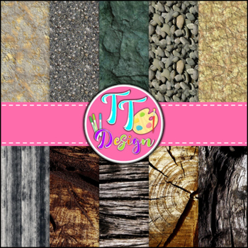 Stone and Wood Textures Digital Background Papers {8.5 x 1