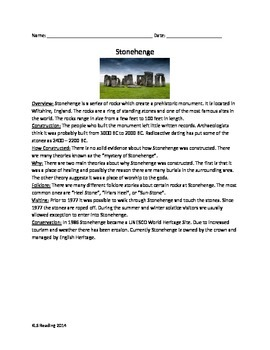 Stonehenge Review Article Questions Vocabulary Word Search