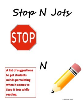 Stop N Jots Prompts for Interactive Notebooks - Grades 6-9