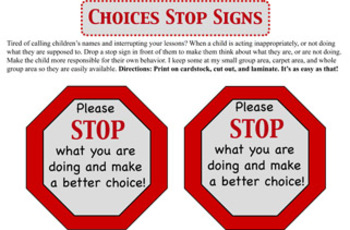 Stop & Reflect Behavior Signs
