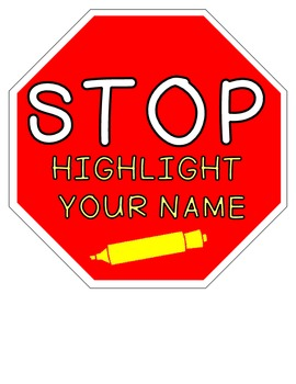 Stop Sign for Name Highlighting FREEBIE