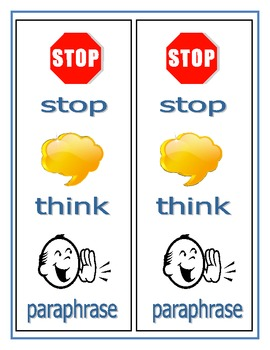 Stop Think And Paraphrase Bookmark
