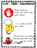 Stop - Think - Paraphrase Comprehension Strategy Poster an