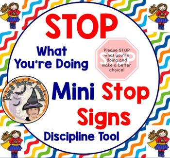 Stop What You're Doing Discipline Mini Stop Signs for Behavior